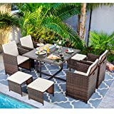 Vongrasig 9 Piece Small Patio Dining Set, Outdoor Space Saving PE Wicker Dining Furniture Set, Glass Patio Dining Table with Cushioned Wicker Chairs and Ottoman Sets for Lawn, Garden, Backyard (Beige)