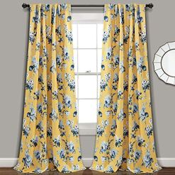 Yellow Blue Floral Curtains