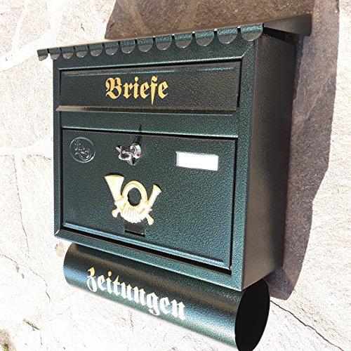 P&D Großer Briefkasten/Postkasten XXL Din A4 Grün/Dunkelgrün mit Zeitungsrolle Flachdach Katalogeinwurf Zeitungsfach