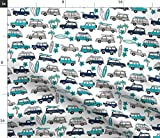 Spoonflower Fabric - Surf Trip Vacation Surfing California Tropical White Blues Surfboard Printed on Petal Signature Cotton Fabric by The Yard - Sewing Quilting Apparel Crafts Decor