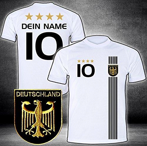 Deutschland Trikot mit GRATIS Wunschname + Nummer + Wappen Typ #D 2017 günstig im EM/WM Weiss - Geschenke für Kinder,Jungen,Baby. Fußball T-Shirt personalisiert