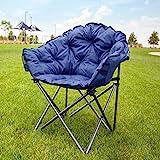 MacSports C932S-130, Blue Padded Cushion Outdoor Folding Lounge Patio Club Chair