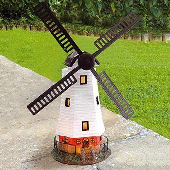 PopHMN Moulin à vent dornement de jardin, moulin à vent automatique à énergie solaire imperméable avec la lumière menée pour lornement de jardin