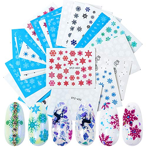 Christmas Nail Art Stickers Xmas Snowflake Design Nail Decals Winter Christmas Nail Sticker Water Transfer Foil Snowflakes Nail Stickers for Christmas Nail Decorations Holiday Manicure (30 Sheets)