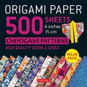 """Origami paper 500 sheets chiyogami patterns 6"""" 15cm: tuttle origami paper: high-quality double-sided origami sheets printed with 12 different designs (instructions for 6 projects included)"""