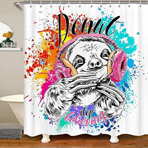 Cortina de ducha perezosa, cortina de baño con estampado de graffiti de acuarela, auricular musical de donut rosa, tela impermeable de microfibra con ganchos para puestos de baño, 72 x 78 pulgadas