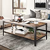 Hoomic Coffee Table, Living Room Table with 2-Tier Storage Shelf, Modern Central Table with Adjustable Feet, 44' Cocktail Table, Rivet Design, Industrial, Rustic Brown
