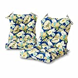 Greendale Home Fashions Outdoor Seat/Back Chair Cushion (Set of 2), Marlow Blue Floral