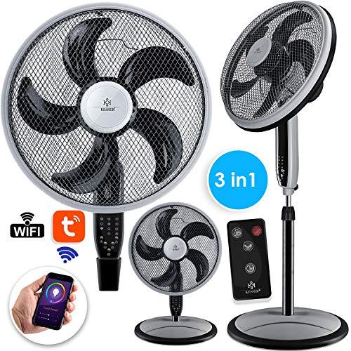 Kesser® 3in1 Standventilator Tischventilator Wandventilator mit App WiFi, Fernbedienung | Timer | leise Oszillation 80 Grad | Ventilator | 4 Geschwindigkeiten inkl. Wandhalterung, Schwarz