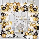Siundam 123pcs kit Ballon Blanc Confettis Or Ballon Guirlande kit de...