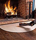 Fire Retardant Fiberglass Half Round Hearth Fireplace Area Rug Polyester Trim Non Slip Mat Low Profile Protects Floors from Sparks Embers Logs 27 W x 48 L Tan