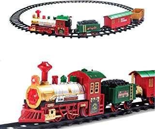 PUSITI Classic Christmas Train Set with Lights and Sounds Railway Tracks Sets Battery..