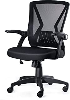 KOLLIEE Mid Back Mesh Office Chair Ergonomic Swivel Black Mesh Computer Chair Flip Up..