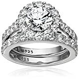 Platinum-Plated Sterling Silver Flower Halo Ring set with Swarovski Zirconia (2.9 cttw), Size 6