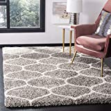 Safavieh Hudson Shag Collection SGH280B Moroccan Ogee Plush Area Rug, 4' x 6', Grey/Ivory