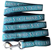 Woven team logo and logotype ribbon sewn onto heavy duty nylon web Shiny silver metal dog clip for easy closure Fits with most collars and looks great with matching collar! Leashes are banded to a header card suitable for pegging