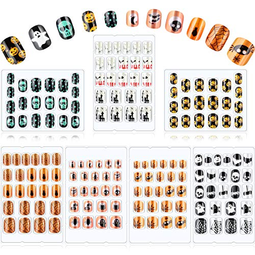 160 Pieces Halloween Kids False Nails Press on Artificial Nail Tip with Skull Spider Pumpkin Bat Pattern Full Cover Short Fake Fingernail Kit for Girls Boys Children Nail Art Decoration, 7 Boxes