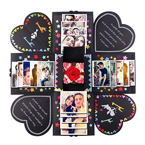PartyTalk Creative Explosion Box DIY Handmade Photo Album Scrapbooking Gift Box for Wedding Engagement Anniversary Graduation Birthday Gifts, Black