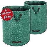 Deuba 2X Sacs de déchets de Jardin Vert 280 L Charge Max 50 kg et 3 poignées par...