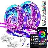 82Ft/25m LED Strip Lights,Micomlan Music Sync Color Changing RGB LED Strip Built-in Mic, Bluetooth...