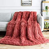 BUZIO Faux Fur Weighted Blanket 15lbs, Super Soft Plush Fleece and Cozy Sherpa Reverse, Shaggy Long...