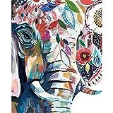 AGjDF Abstrait Animal éléphant porteAbstrait Animal éléphant porte5D DIY numérique Toile peinture_PréimpressionToile_Enfants Adultes peint à la Main Peinture murale Chiffon Peinture—40x50cm sin Marco