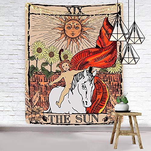 Hexagram Tarot Tapestry, Sun Tapestry Wall Hanging, Medieval...