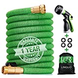 Linquo 100 ft Garden Hose Upgraded Expandable Hose, Durable Flexible Water Hose, 8 Function Spray Hose Nozzle, 3/4' Solid Brass Connectors, Retractable Latex Core, Lightweight Expanding Hose
