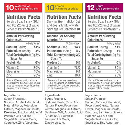 DripDrop ORS Electrolyte Hydration Powder Sticks Variety Pack (12 Lemon/10 Berry/10 Watermelon) 10g Sticks, 32 Count 3