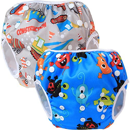 Teamoy 2-teilig Baby Schwimmhose Badewindelhose Badehose (Construction+ Happy Night)