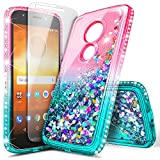 Motorola Moto E5 Case (XT1920DL), Moto G6 Play/Moto G6 Forge with Tempered Glass Screen Protector, NageBee Glitter Liquid Waterfall Women Kids Girls Durable Cute Case -Pink/Aqua