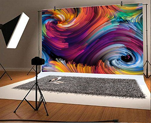 Yeele Dynamic Color Backdrops 9x6ft /2.7 X 1.8M Colorful Abstract Design Made of Colorful Fractal Clouds and Graphic Pictures Adult Artistic Portrait Photoshoot Props Photography Background