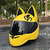 Personality Cat Ears Angled Full Face Modular Motorcycle Helmet, All Seasons Breathable Keep Warm Adjustable Detachable for Youth Adults Men & Women,Yellow,L