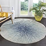 Safavieh Evoke Collection EVK228A Modern Contemporary Burst Area Rug, 3' Round, Royal/Ivory