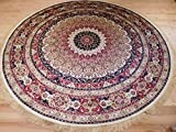 Luxury High End Shiny Silk Area Rugs Persian Silk Tabriz Design Round Rugs 8ft Circle Ivory Rug Silk 8x8 For Living Room (Large 8 ft Round Shape)