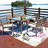 Festival Depot 7-Piece Wicker Rattan Patio Dining Set with Cushions 6 Seat Chairs Furniture and Tempred Glass Top Table (7pc with Cushions)
