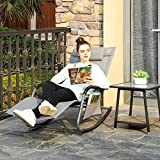 SONGMICS Gartenstuhl Sonnenliege Schaukelstuhl mit Kopfstütze grau - 3