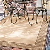 nuLOOM Gris Border Indoor/Outdoor Area Rug, 5' 3' x 7' 6', Beige