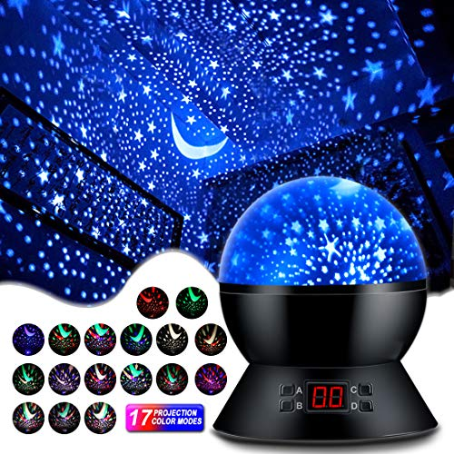 MOKOQI Star Projector Night Lights for Kids with Timer, Gifts for 1-14 Year Old Girl and Boy, Room Lights for Kids Glow in The Dark Stars and Moon can Make Child Sleep Peacefully and Best Gift-Black