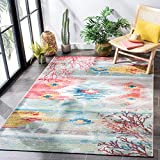 Safavieh Barbados Collection BAR554M Tropical Abstract Indoor/ Outdoor Non-Shedding Stain Resistant Patio Backyard Area Rug, 4' x 6', Light Blue / Pink