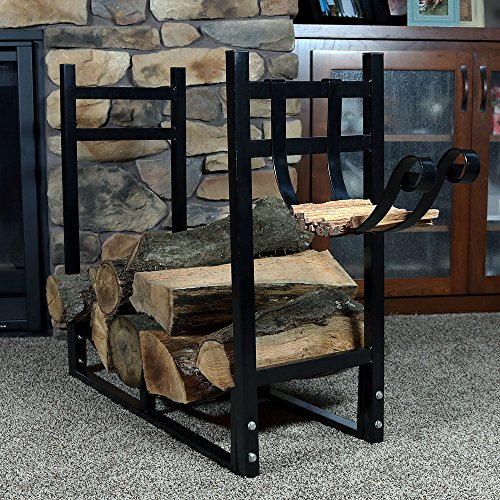 Sunnydaze 33-Inch Firewood Rack with Kindling Holder - Indoor or Outdoor Black Powder-Coated Steel Fireplace Log Rack Firewood Holder for Wood Storage