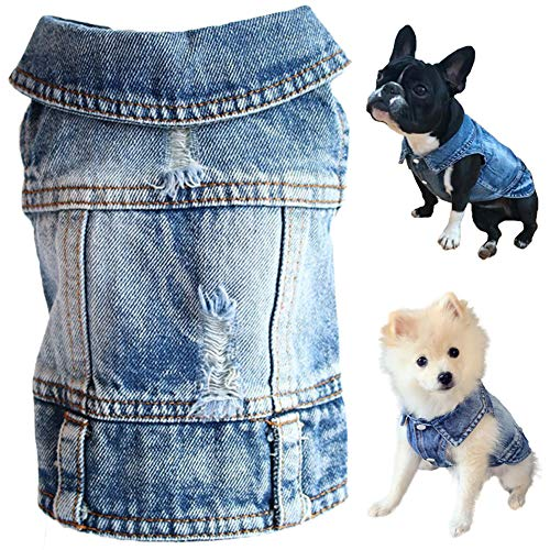 Strangefly Dog Jeans Jacket, Blue Puppy Denim T-Shirt, Machine Washable Coats, Comfort and Cool Apparel, for Small Medium Dogs Pets and Cats(M)