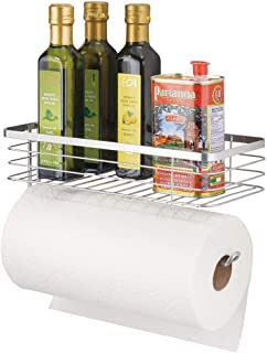mDesign Paper Towel Holder with Spice Rack and Multi-Purpose Shelf – Wall Mount..