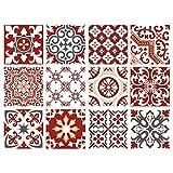 Planche de 12 Stickers Carrelage - Carreaux de Ciment - Redmonky - Dimensions d'un...