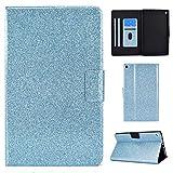 Nadoli - Funda de piel sintética con purpurina para Kindle Fire HD 10 de 10,1 pulgadas 2019/2017/2015, con función atril y cartera protectora plegable, color azul
