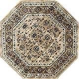 Traditional Octagon Persian 330,000 Point Area Rug Berber Beige Design 601 (4 Feet X 4 Feet)