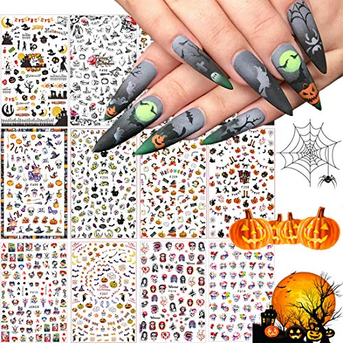 1500+ Patterns Halloween Nail Art Sticker Decals, Kalolary Self-Adhesive Nail Sticker Decals Nail Art Decorations for Halloween Pumpkin/Bat/Ghost/Witch/Joker/Skull/Spider/Devil/Vampires(12 Sheets)