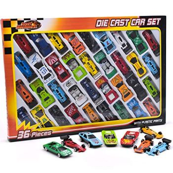 KandyToys 36 Piece Die Cast Metal Toy Cars – Diecast Mini Racing Cars, Convertibles, F1 Cars and Model Cars