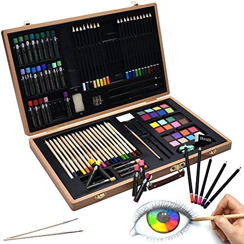 Artina 89-teiliges XXL Malset Genova mit Malkoffer - Wachsmalstifte, Buntstifte Set, Wasserfarben, Pastelle, Pinsel, Zeichenset