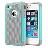 UARMOR iPhone 4S Case, iPhone 4 Case, Shockproof Dual Layer Protective Hybrid Hard PC Cover TPU Bumper Scratch Resistant Durable Phone Case for Apple iPhone 4 / iPhone 4S, Mint Green/Gray